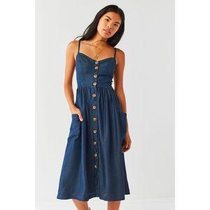 Urban Outfitters Chambray Denim Button Midi Dress